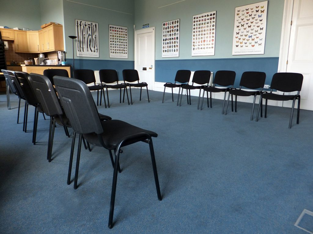 Chairs set out ready for a meeting in the Duncan Room
