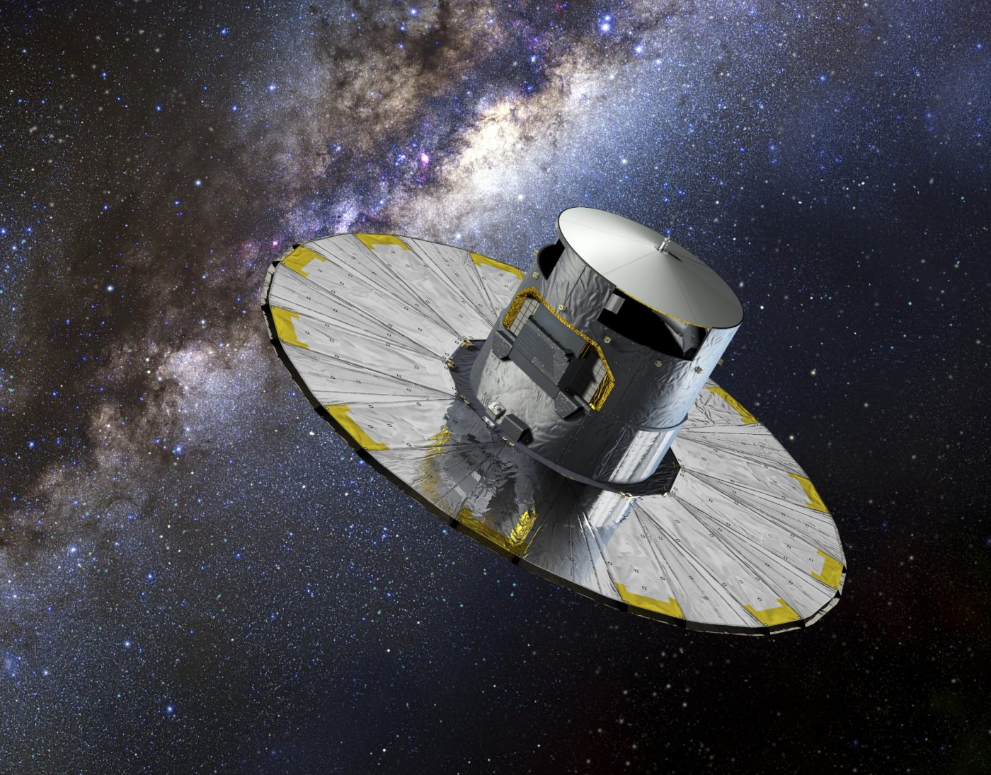 An artists impression of the Gaia satellite in space