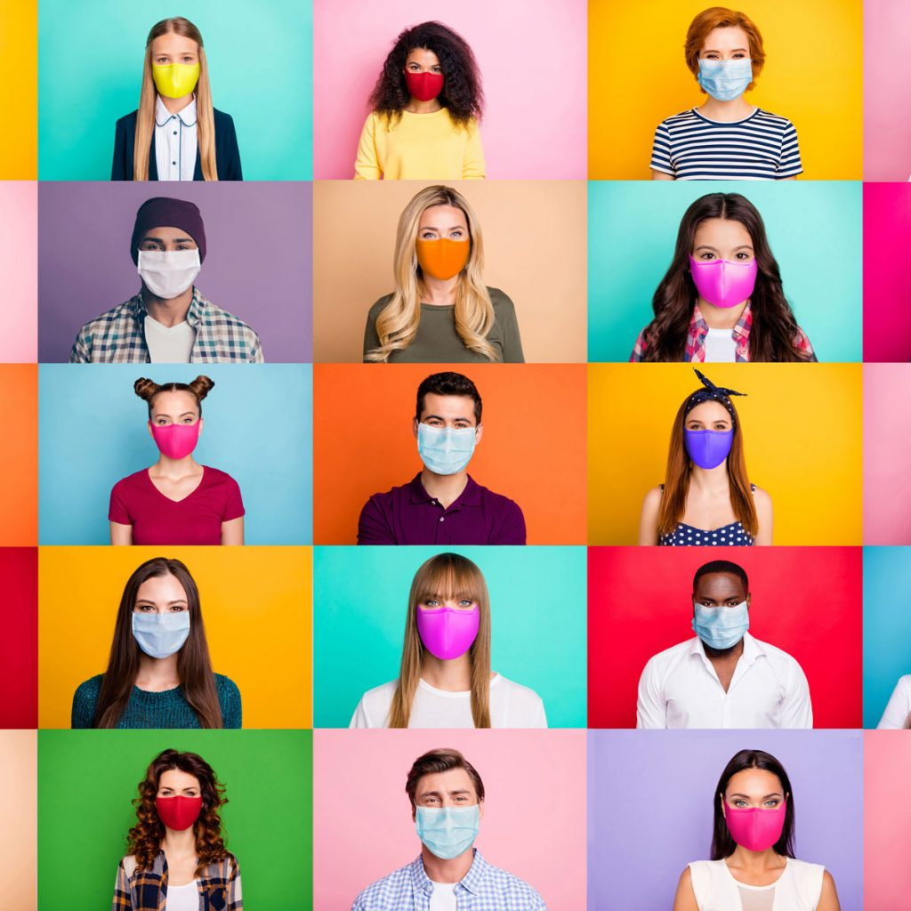 People wearing masks in colourful blocks