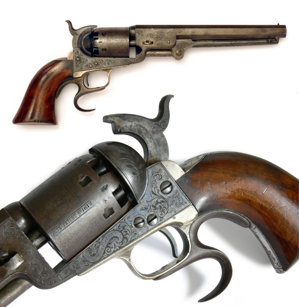 Two views of a Colt revolver, a gun which represents a revolution in manufacturing and the birth of the machine age.