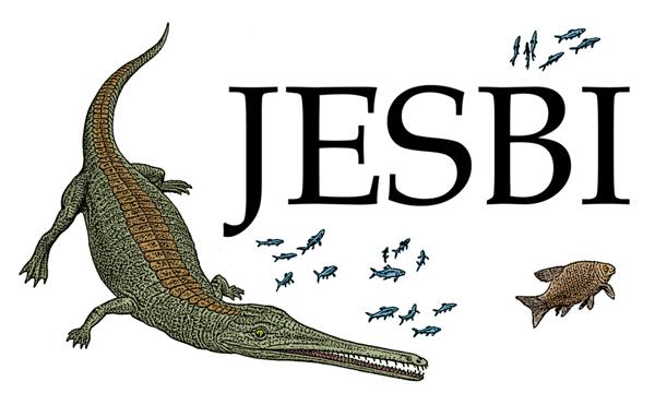 Logo for the JESBI project, a Pelagosaurus crocodile drawn by John Sibbickodile
